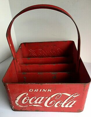 Coca`Cola Vintage Galvanized Metal Bottle Caddy