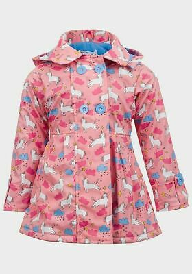 Minoti Girls Unicorn Print Vinyl Fleece Lined Rain Mac Age 2 - 3 Years New