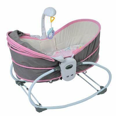 Baby Cradle Swing Bed Comfy Nursery Bouncer Toddler Infant Girls Pink Easy Carry