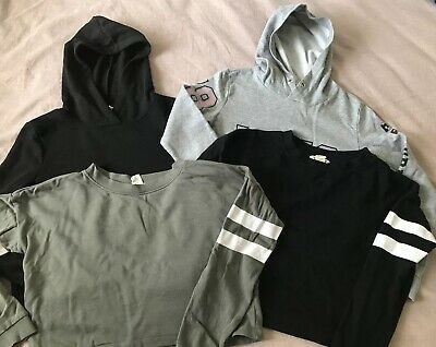 Girls Cropped Jumpers H&M Age 11-12 Black Khaki Grey Hooded X4 Sweater Pullover