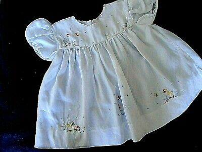 Gorgeous Vintage 1950s Baby Girls Dress Applique Chicks Sz 0-3 months