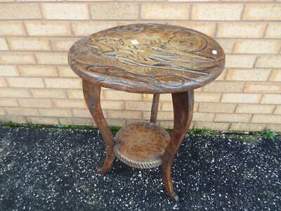 Liberty & Co Antique Hand Carved Japanese Dragon Table c.1905