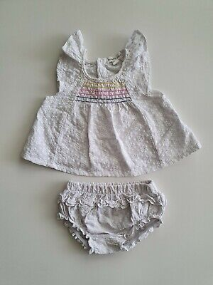 Pumpkin Patch baby girl white flutter top and bloomer outfit size 000