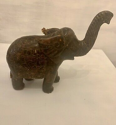 Antique Amber Intricately Carved Elephant From China