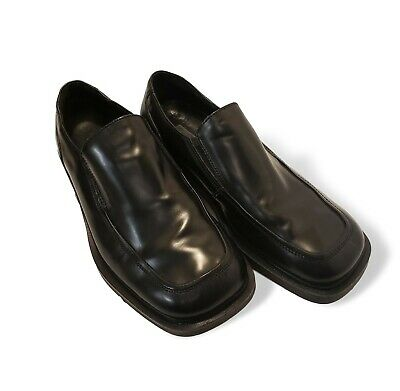 Kenneth Cole Reaction New York Mens Black Leather Loafers Slip On Shoes Size 7.5