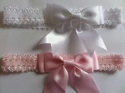 Baby Headbands Lace Edged Elastic  Double Satin Bow with Tails Hair Accessories