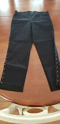 Women's Career Capris Lux Black Stretch Pull On Ladies Size 10 Counterparts
