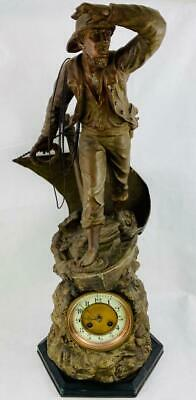 19thc Antique French Clock c1880 Victorian~Large Figural Bronze Washed Spelter