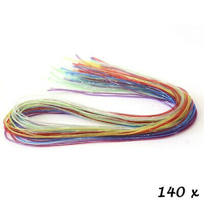 Gros Lot de 140 fils scoubidous multicolores transparents pailletés, diam. 2 mm