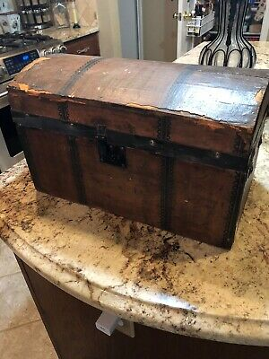 Antique Dome Top Trunk Tin Embossed Victorian Child Doll Trunk