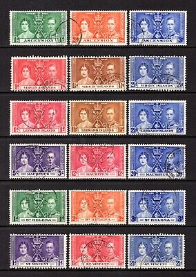 Empire-Commonwealth Kgv1 1937 Coronation Good To Fine Used 11 Sets Cat £40+