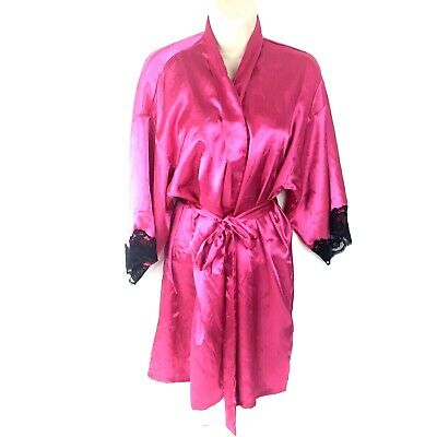 Fredericks of Hollywood pink fuscia with black lace robe M
