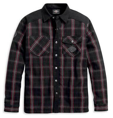 Harley-Davidson® Men's Sherpa Fleece Lined Plaid Shirt Jacket, Black 96112-20VM