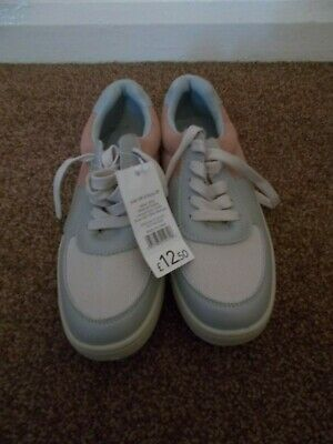 Ladies George Size 6 Pastel Pink & Light Blue/Grey Lace-Up Trainers-NEW with Tag