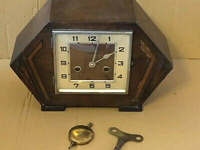 Vintage Haller Foreign Wood Cased Mantel Clock, With Pendulum & Key