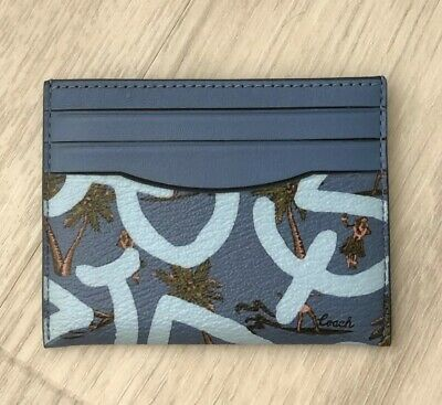 Coach Women's Keith Haring ID Card Case Holder Coated Canvas With Hula Dance
