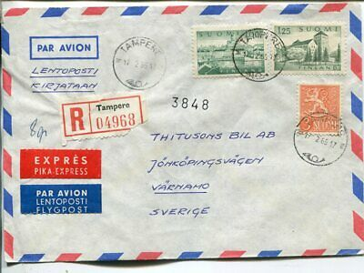 Finland reg express air mail cover to Sweden 17.2.1965