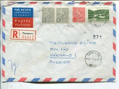 Finland reg express air mail cover to Sweden 19.1.1966