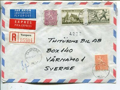 Finland reg express air mail cover to Sweden 19.1.1965