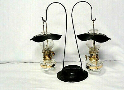 """3 1/2"""" Glass mini oil / Hurricane lamps - metal shades & stand - From Hong Kong"""