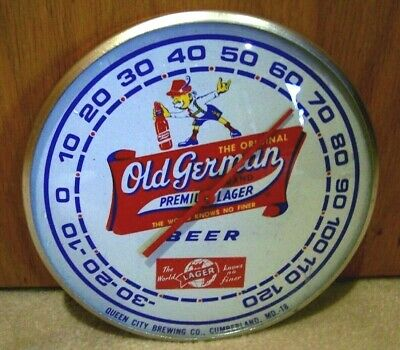 Vintage NOS MINT OLD HERMAN THE GERMAN Sign THERMOMETER QUEEN CITY BREWING GLASS