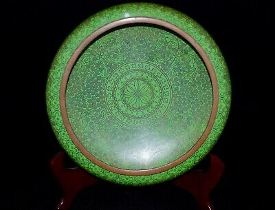 Fine Antique Chinese Green Cloisonne Enamel Gilt Bronze Brush Washer Censer