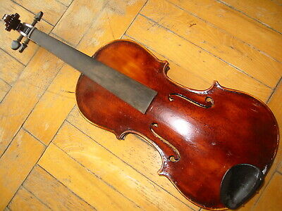 Nicely flamed old violin violon 1 part back, overpainted, needs service