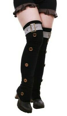 Leggings Black with Strap Gray and Buttons Color Bronze, Steampu Steampunk Co
