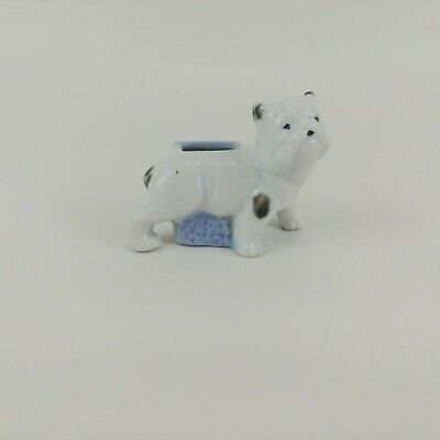 Vintage Ceramic Porcelain  Bulldog Pin Cushion Stamped Made in Japan
