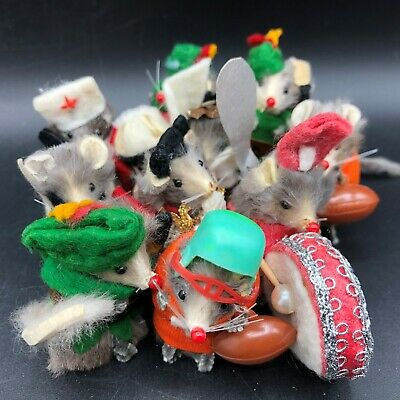 Lot (11) Vintage Real Fur Mouse Dressed Mice Original W. Germany Little Factory