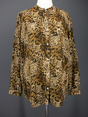 JONES NEW YORK Top L Brown Cheetah Leopard Print Sheer Crinkle MACY'S