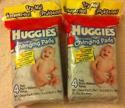 Lot of 2 ~ Huggies Gentle Care Disposable Changing Pads ~NIP~ total of 8 pads