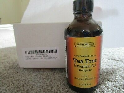 Being Naturals Therapeutic Tea Tree Oil Essential Melaleuca 4 oz,New, 100% Pure