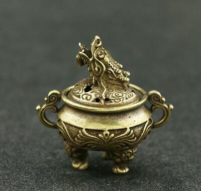 Exquisite Chinese Old Pure Brass Handwork dragon statue collectable censer /Vb01