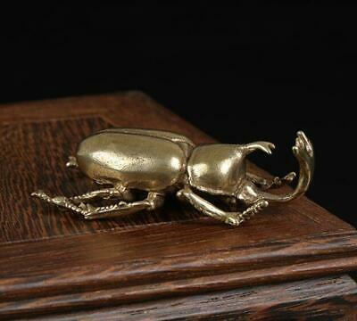 Exquisite Chinese Old Pure Brass Handwork beetle statue collectable /Va01