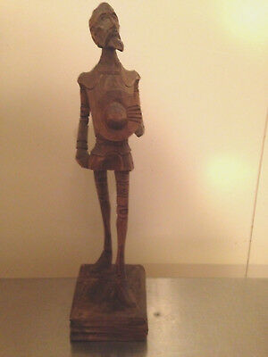 Vtg MID CENTURY MODERNIST DON QUIXOTE FIGURAL CARVED WOOD SCULPTURE CARVING