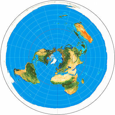 "16""x16"" Azimuthal Equidistant Projection Flat Earth Map Naval Radar Usgs Zetetic"