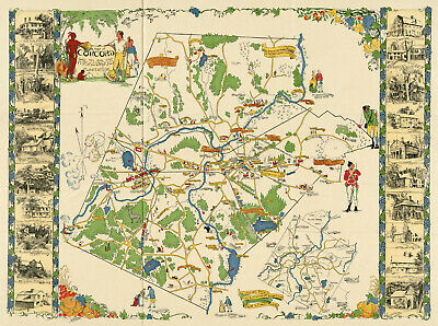 "c1923 Pictorial Map Concord Massachusetts the old Musketaquid Plantation 11""x15"""