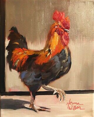 Norma Wilson Original Oil Rooster Bird Cockeral Impressionism Painting Art