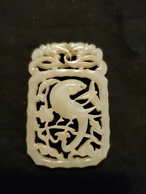 Vintage Carved Jade Chinese Figure of Bird in Bushes