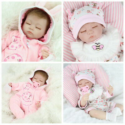 "Realistic 16"" Twins Sleeping Girls Reborn Baby Dolls Handmade Newborn Doll Gifts"