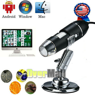 1600X 8 LED USB Digital Microscope Endoscope Magnifier Camera + Stand Kit