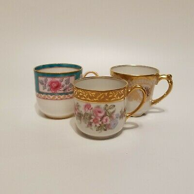 3 Antique Demitasse Hand Painted Cups ONLY!  JP Limoges Royal Doulton M. Redon