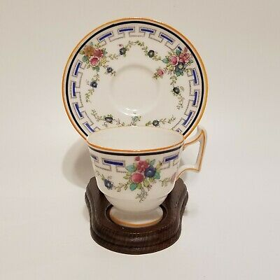 Antique Royal Doulton Demitasse Cup & Saucer Hand Painted Cobalt Blue Pink