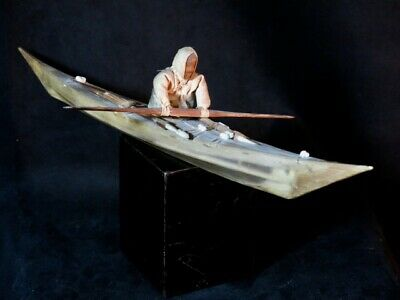 Inuit Greenland Style Skin Kayak Model From an Old German H.L. KEHE Collection