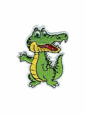 Happy Croc Iron-on Embroidered Patch Alligator waves/Vibrant Green