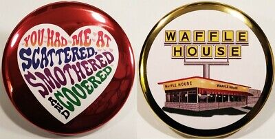 Waffle House PIN SET 3 - GOLD BUTTONS Rare American Fast Food Restaurant USA