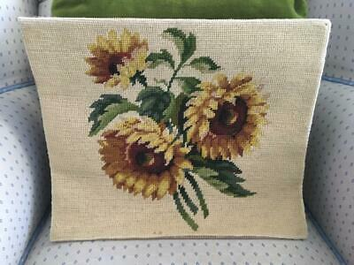 Vtg Completed Hand Made Sunflowers Flowers Needlepoint Finished Tapestry