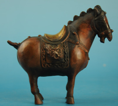 Chinese old red copper gilding Hand carving Zodiac horse statue/Q c01