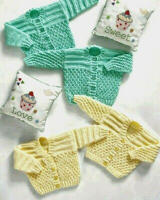Baby Knitting Pattern Cardigans 8 Ply copy PREMATURE/Newborn to 12 Months